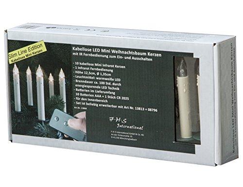 FHS 13868 Christbaumkerzen Slim Line, kabellose LED Mini-Baumkerzen mit Fernbedienung für den Innenbereich, 10 Kerzen inkl. Batterien