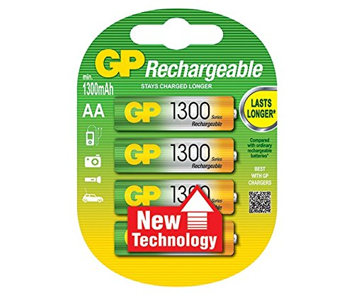 Galleria fotografica GP Batteries Rechargeable batteries GP130AAHC Nickel Metal Hydride 1300mAh 1.2V rechargeable battery - rechargeable batteries (1300 mAh, Nickel Metal Hydride, AA, 1.2 V, Green, Yellow, 4 pc(s))