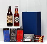 Gents Ale & Chocolate Survival Kit - Blue Gift Box for him with 500ml Black Sheep Ale, 500ml Old Speckled Hen Ale - Perfect gift idea for men