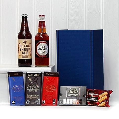 Gents Ale & Chocolate Survival Kit - Blue Box avec 500ml Ale Black Sheep , 500ml Old Speckled Hen Ale , Green & Blacks Chocolats bio & Sablés