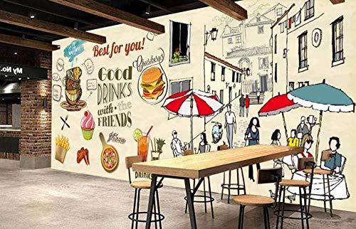 Fototapete Poster 3D Wandbilder Für Wohnzimmer Nachmittagstee Freizeit Im Freien Cafe Burger Pizza Wandmalerei Wandtapete Moderne Kunst Wandbild Decor-250 * 175Cm