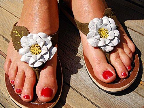 SEESTERN Damen Leder Zehentrenner Zehensandale Zehensteg Sandalen in Größe 36-44 Grüntöne