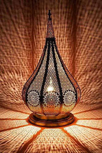 Orientalische Marokkanische Tischlampe Lampe Leuchte Tischleuchte Nachttischlampe Laterne Kais Gold