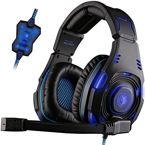 SADES SA907 7.1 USB Surround Sound Über-Ohr-Professionelle Stereo PC Gaming Headset Kopfhörer mit Bügel Cool Blue LED-Beleuchtung mit zwei Modi Hifi Mikrofon Volume Control-Fernbedienung (schwarz)