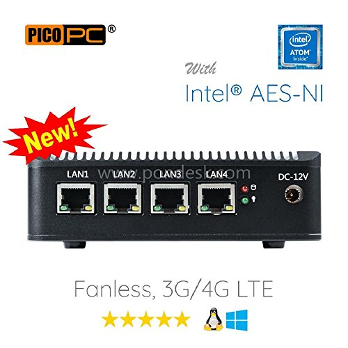 Perfect pfSense, Sophos, Untangle, Ubuntu, ClearOS, Freebsd, Monowall, Debian etc Intel AES-NI Atom® E3845 4 LAN with WiFi HD Fanless Firewall Appliance Router Barebone (0GB RAM, 0GB mSATA SSD)