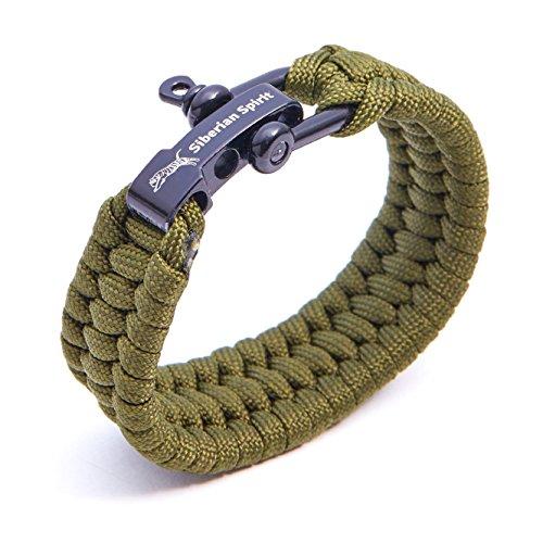 Siberian Spirit braccialetto paracord con chiusura in metallo regolabile 5 colori (verde militare)