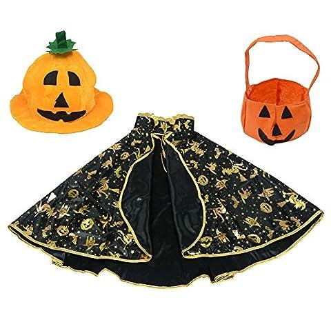 Halloween Kostüme Wizard Sterne Fancy Umhang + Kürbis Hat + Stereo Kürbis Tasche für Kinder Junge (Kostüm Idee)