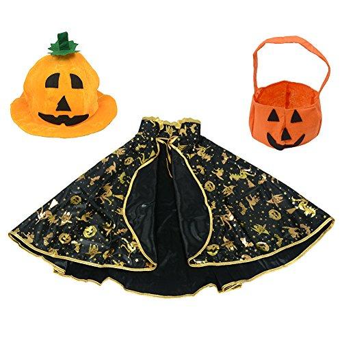 Halloween Kostüme Wizard Sterne Fancy Umhang + Kürbis Hat + Stereo Kürbis Tasche für Kinder Junge Mädchen