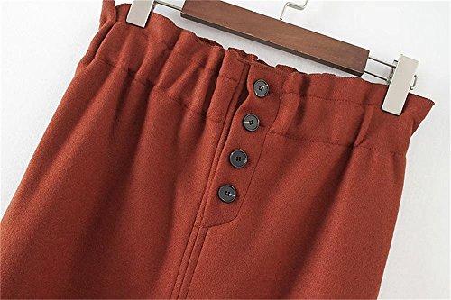 COCO clothing Donne Eleganti Alta Vita Asimmetria Tagliato Metà Lunghezza Bodycon Tubino Moda ed Slim Fit Gonna Rosso
