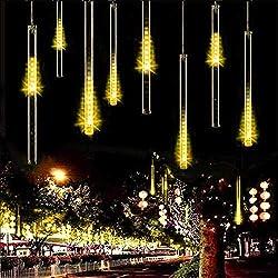 Lumières de douche de météore, shsyue lumières tombantes solaires avec 30cm 10 tubes 360LEDs imperméable pour la décoration extérieure d'arbres de fête de jardin (Blanc chaud)