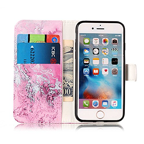 Etui Housse Coque pour iPhone 7/iPhone 8,PU Leather Case for iPhone 7/iPhone 8,Hpory élégant Fashion 3D Design Colorful Painted with Lanyard PU Cuir Case Book Style Folio Stand Fonction Support PU Lea Marbre, Rose#2