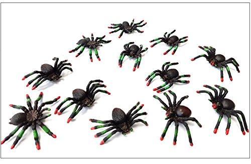 Libetui 12er Set Spinnen Deko Halloween Spielzeug-Spinnen aus Kunststoff, 4 Verschiedene Arten ALS Deko für Halloweenparty, auch ALS Mitgebsel Geschenke