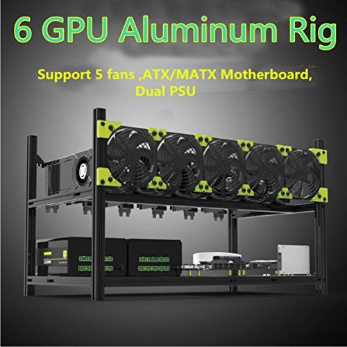 Bleev.In Veddha Minercase V3C 6 GPU Aluminum Stackable Mining Rig Open Air Frame Case (BlackStorm)