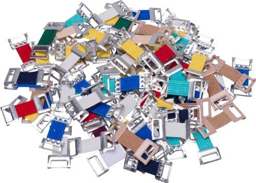 HögaVerbandklammern Mix,Verbandklammern farbig sortiert mit Gummiband, 100 Stück