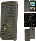 TECHGEAR® HTC One M8 DOT MATRIX VIEW Flip Case Cover With Auto Sleep Wake Function (GREY)