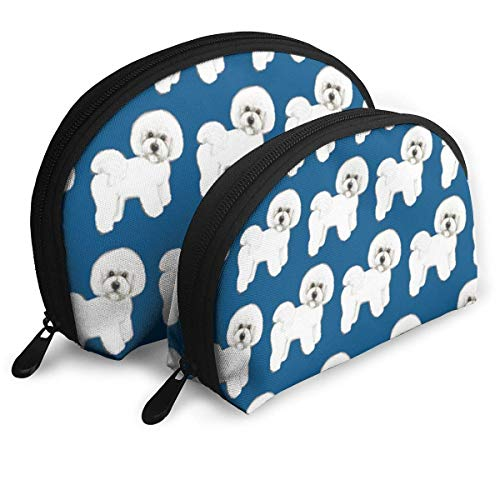Blue Bichon Frise Fabric Portable Reise-Kosmetiktaschen Organizer Set of 2 for Women Teens Girls