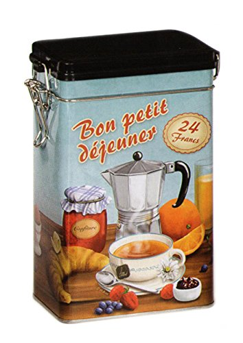 Bon Petit Dejeuner-Classico Francese Stile Vintage-Barattolo Latta/tè/caffè rettangolare, chiusura ermetica