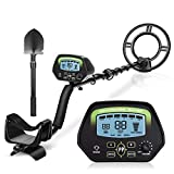 "INTEY LCD Display Metal Detector 9.8"" Waterproof Search Coil with Folding Shovel"