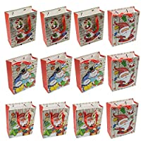 12 Packs Mixed Christmas Paper Gift Bags with Rope Handles and Matching Gift Tags, Festive Designs, Christmas Party Presents - 12 Small (24 x 18 x 8 cm)