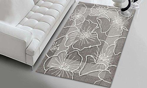 Parure scendiletto 3 pezzi - tappeto spring fiore bianco fondo grigio - in ciniglia con sottofondo antiscivolo - arreda la tua camera da letto - lavabile in lavatrice - pratico e comodo