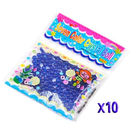 Gleader 10 Paquetes de Bola Grano Cuenta de Agua Cristal Gel para Decoracion - Azul