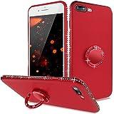iPhone 7 Plus Hüllen Silikon,iPhone 8 Plus Handyhülle Glitzer Rot,Slynmax Magnetischer Glitzer Schutzhülle Ring Case Handyhülle TPU Tasche TPU Bumper Schale Etui für iPhone 7 Plus/iPhone 8 Plus