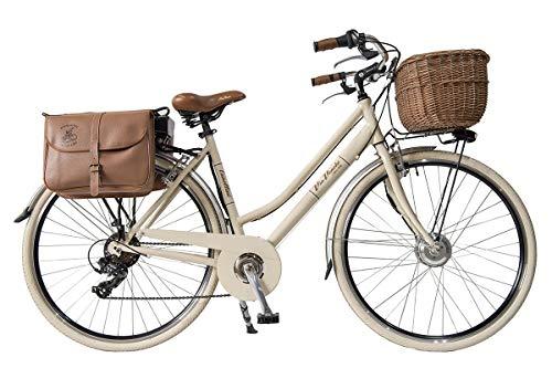 Via Veneto by Canellini Pedalata assistita Bicicletta Elettrica EBIKE E-Bike Bici Citybike CTB Donna Vintage Retro Via Veneto Alluminio Panna 50