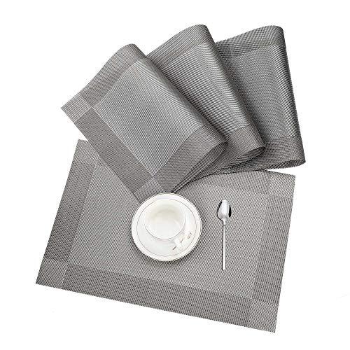 Tischset, Platzset 4er set Rutschfest Abwaschbar PVC Abgrifffeste Hitzebeständig Platzdeckchen für Zuhause Restaurant Speisetisch Braun Silber ...
