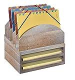 Bindertek Stacking Wood Desk Organizers Step Up File & 2 Tray Kit, Driftwood (WK2-DR)