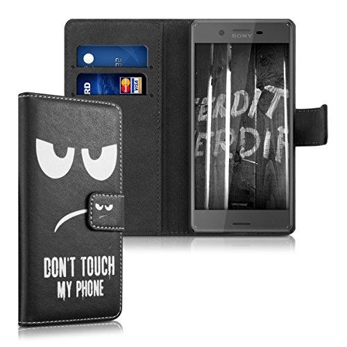 kwmobile Wallet Case Kunstlederhülle für Sony Xperia X - Cover Flip Tasche in Don't touch my Phone Design mit Kartenfach und Ständerfunktion in Weiß Schwarz