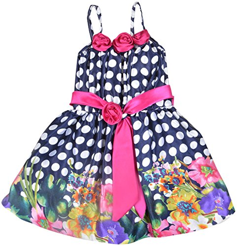 Kuchipoo Baby Girl Party Wear Dress (KUC-FRK-140 Royal Blue and Pink 1.5year - 2.5 Years)