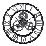 HYZH 60CM/23.6 Zoll Lautlos Wanduhr Uhr Ohne Tickgeräusche Wanduhr Groß XXL-Silber