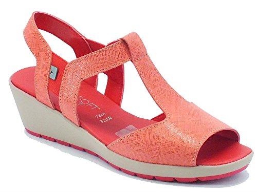Sandalo Cinzia Soft in pelle rossa lavorazione saffiano (Taglia 39)