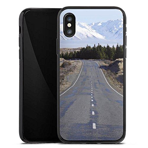 Apple iPhone X Silikon Hülle Case Schutzhülle Landschaft Straße Berge Silikon Case schwarz