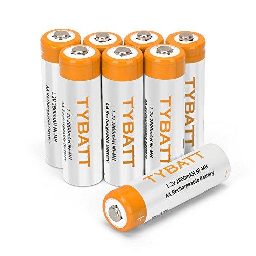 TYBATT Pile Ricaricabili stilo AA Batterie 2800mAh 1.2V Ni-MH 1200 cicli (confezione da 8)