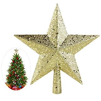 Cieelita 4,5 / árbol de Navidad Topper Pulgadas Estrella de plástico Estrella de Navidad la Punta del árbol para la Navidad de los Regalos Decor Craft de Navidad