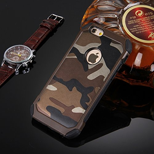 Phone case & Hülle Für iPhone 6 / 6s, Camouflage Muster Shock-resistent Tough Armor PC + Silikon Kombination Fall ( Color : Dark Blue ) Brown