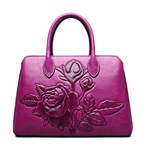 Jsix Borsa in Vera Pelle Borse Tote Donna Designer Fiore Cartella Borsa a Tracolla Rosa