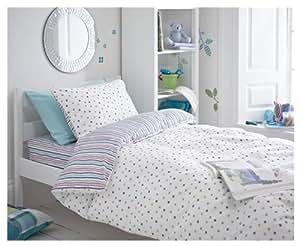 Projections &Splodge 100% coton brossé Violet/rayures &Kit housse de couette pour lit Double Motif à pois