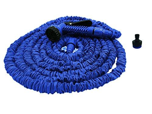 100 m de tuyau d'arrosage extensible avec pistolet d'arrosage 7 fonctions-Connecteur de robinet de jardin spécialement fabriqués et plus résistant à une spécification intérieur flexible Double en Latex résistant, en extérieur Polyester robuste et flexible Silk Bande extensible jusqu'à 3 fois sa longueur d'origine, et léger Plus besoin de se tordre compresse magique pour un rangement facile.