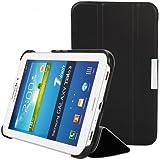 iHarbort® Samsung Galaxy Tab 3 7.0 Hülle Case - Premium Leder Tasche Hülle Etui Schutzhülle Für Samsung Galaxy Tab 3 7.0 Zoll T210 T211 P3200 P3210 Case Holder Schwarz