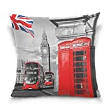 QianruB-No. Housse de Coussin décorative carrée Motif London Symboles Big Ben Union Jack 45,7 x 45,7 cm
