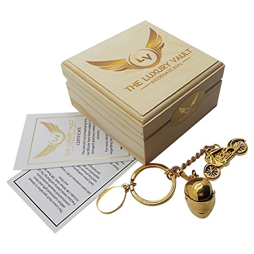 VL Gold Motorcycle and Crash Helmet Keyring Keychain 24 Carat Gold Coated in Wooden Gift Box Luxury Biker Gifts