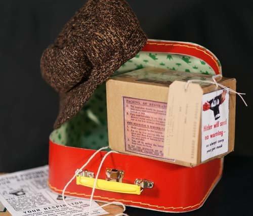 1940ER Boy Umsiedler Verkleidung Satz Tweed GAP-Gas maske Box-Gepäck Label and Small Koffer PERFECT KOSTÜM ZUBEHÖR FOR WW2-KRIEG-BLITZ-TEAM