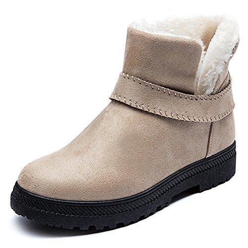 Eagsouni® Damen Gefüttert Stiefeletten Schneestiefel Schlupfstiefel Mädchen Winter Leder Stiefel Schuhe Warm Chelsea Boots (All-wetter-stiefel Frauen)
