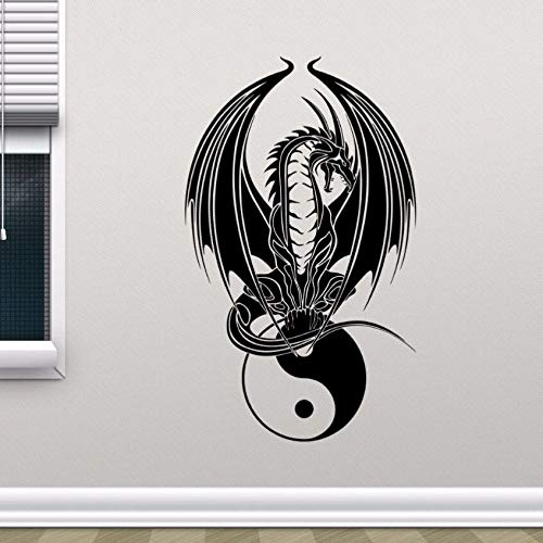 WWYJN Dragon Yin Yang Wall Decal Bedroom Yoga Art Wall Poster Home Bedroom Decoration Removable Vinyl Dragon Symbol Wall Sticker Blue 35x57cm - 4 Hi-ball Gläser