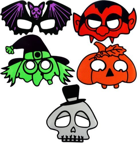 Packung mit 5 stück Kinder Halloween Masken Pumpkin Fledermaus Dracula Hexe ()
