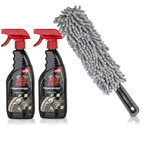 ORA-TEC-Set-di-3x-Pezzi-per-Pulire-i-Cerchioni-e-Ceppi-del-Freno-di-Auto-2x-Spray-Detergente-Sgrassatore-e-Lucidante-ognuno-500-ml-Gratis-Spazzolina-in-Microfibra