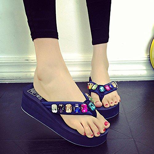 Estate Sandali 5,5 centimetri  Fiori di vibrazione dei rhinestones di modo di estate / scarpe da spiaggia (nero, blu, marrone, dentellare, bianco) Colore / formato facoltativo Blu