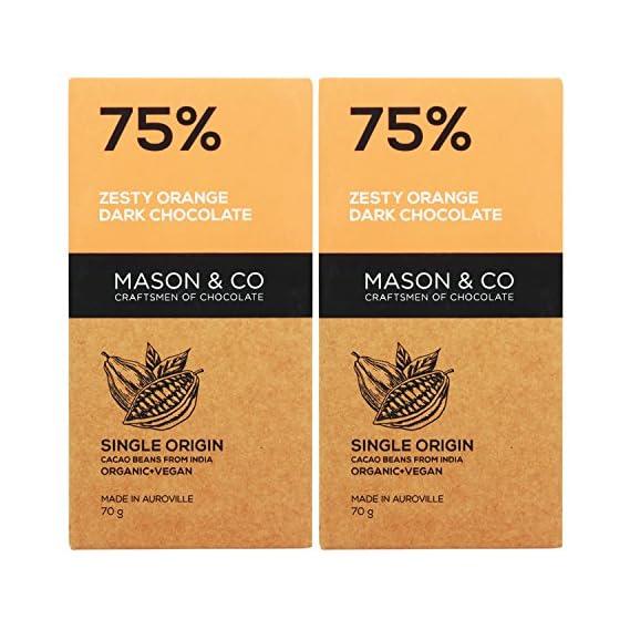 Mason & Co. 75% Zesty Orange Dark Organic Exotic Artisanal Chocolate - 60g (Pack of 2)
